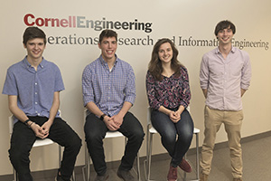 "Cooper McGuire '22, Jack Kulas '22, Cassandra Heine '22, and Sam Gutekunst Ph.D. '20 developed a  60-page mini-textbook, ""Winning with Math"", with support from an Engaged Cornell graduate student grant."